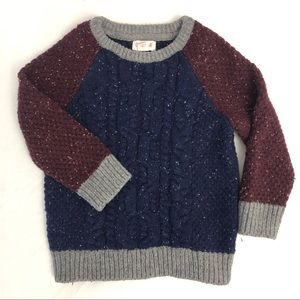 Chunky burgundy and navy knit sweater cat&jack